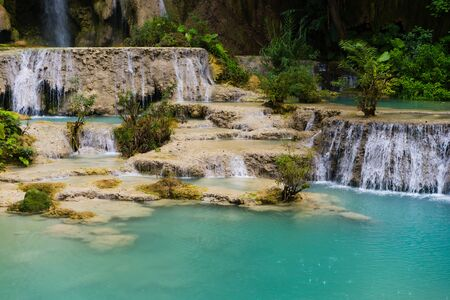Kuang Si Waterfall, one of the most visited tourist attractions in Luang Prabang, Laos. 写真素材 - 132109855