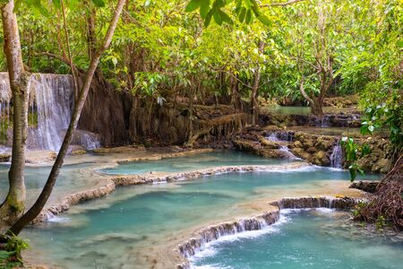 Kuang Si Waterfall, one of the most visited tourist attractions in Luang Prabang, Laos.