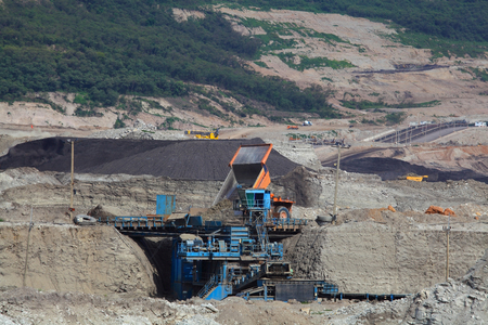 Coal Crusher in open pit at Mae Mo THAILAND photo