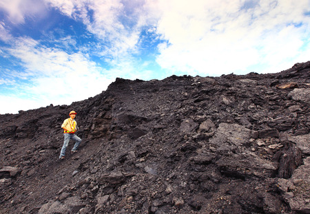 paleontologist: coal geologist at lignite mine North of THAILAND Editorial