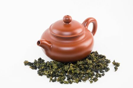 oolong tea: Tea pot with Oolong tea. Stock Photo
