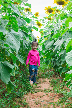 happy little girl smile with sunflower garden. soft focus. Фото со стока - 122683079