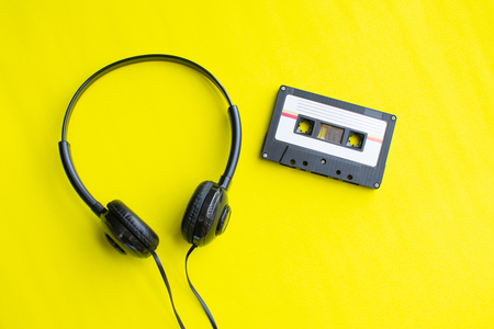 retro of tape cassette on yellow background. soft focus. Stock Photo