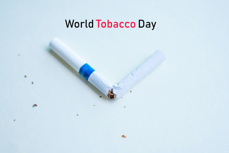 cigarette  on white background (World No Tobacco Day concept). soft focus. Stock Photo