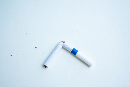 cigarette on white background (World Tobacco Day concept). soft focus.