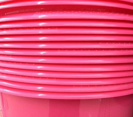 Stacked Pink Round Plastic Trays Banco de Imagens