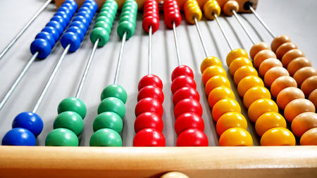 Perspective Abacus for Counting Practice on Gray Background