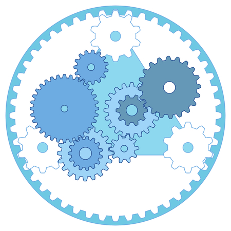 Mechanical Engineering Scheme Gear Train and Planetary Gears Vectores