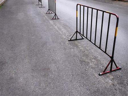 Portable Welded Steel Frame Fences on Street