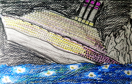 Doodle with Colors of Large Ship Sinking into the Ocean