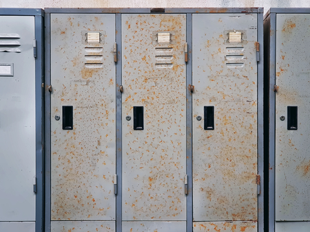 Full Frame Background of Old Grungy Rusty Lockers