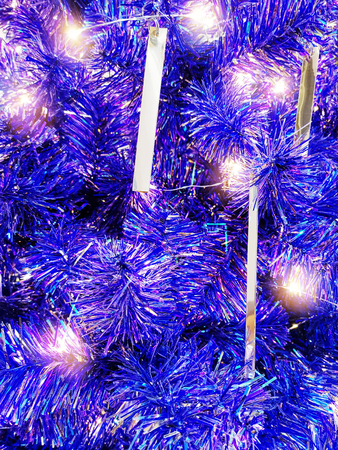 Full Frame Background of Illuminated Blue Christmas Tree Decoration