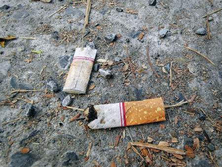 Close-up Burnt Cigarette Leftovers on the Ground Imagens