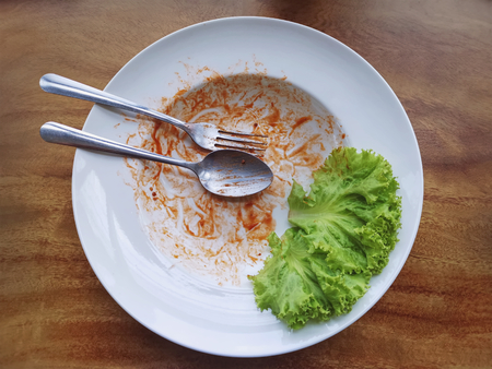 High Angle View of Food Leftover of Finished Meal