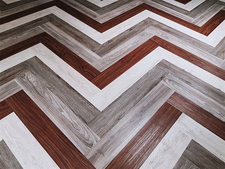 Full Frame Background of Brown and White Zigzag Floor Pattern Imagens