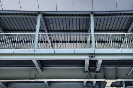 Low Angle View of Metal Structure of Elevated Walkway