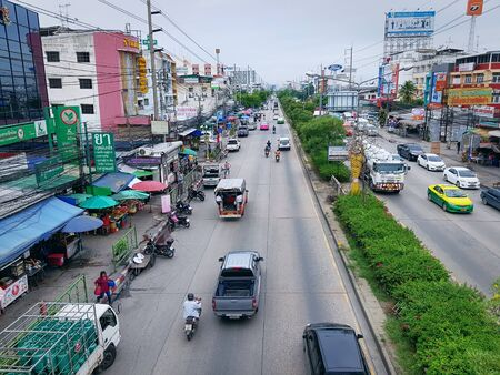 Nam Daeng, Samut Prakan  Thailand - July 4, 2019: High Angle View of Traffic on Thepharak Road 에디토리얼