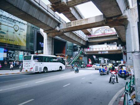 Pathumwan, Bangkok  Thailand - July 17, 2019: Traffic View of Street Transportation at Siam BTS Station