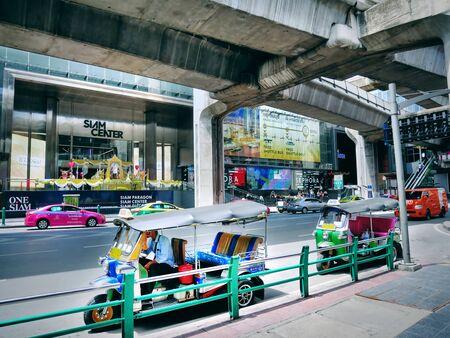 Pathumwan, Bangkok  Thailand - July 17,2019: Tuk Tuk Drivers Waiting for Passengers at Siam BTS Station