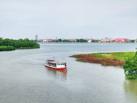 Scenic View of Ferry Boat with Unrecognizable Passengers in Thailand
