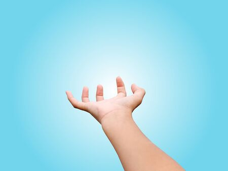 Close-up Shot of Open Hand Isolated on Blue Background