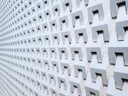 Full Frame Perspective Background of White Building Exterior Patterns 스톡 콘텐츠