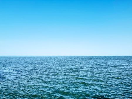 Full Frame Background of Blue Sea with Horizon