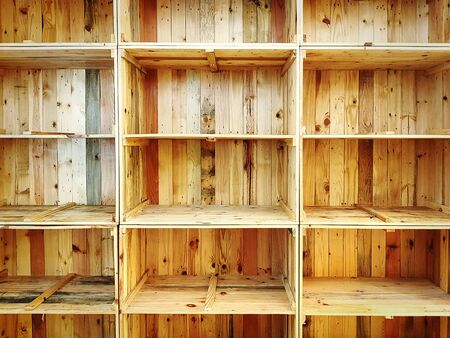 Full Frame Background of Empty Grungy Wooden Shelves