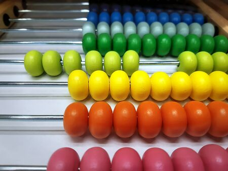 Colorful Wooden Abacus Beads with Selective Focus Stock fotó