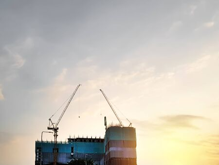 Low Angle View of Building Construction Against Sky During Sunset 스톡 콘텐츠