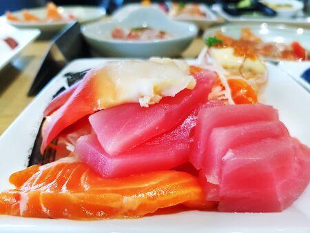 Salmon and Tuna Sashimi Japanese Food on White Plate 스톡 콘텐츠