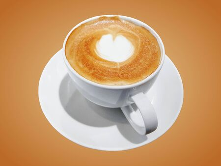 Hot Latte Coffee in White Cup Isolated on Brown Background 스톡 콘텐츠