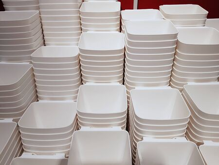 Full Frame Background of Group of Stacked White Plastic Containers 스톡 콘텐츠