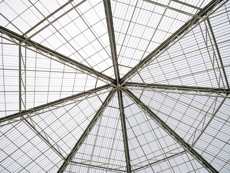 Full Frame Background of Modern Roof Structure with Welded Pipes