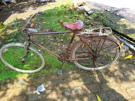 old onthel bike with grass in front of the house