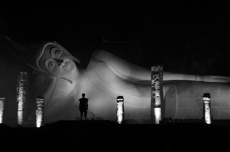 The reclining buddha at night  photo
