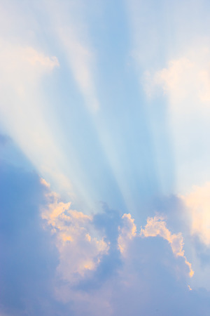 Sky with sun and clouds  Sun rays  Stock Photo
