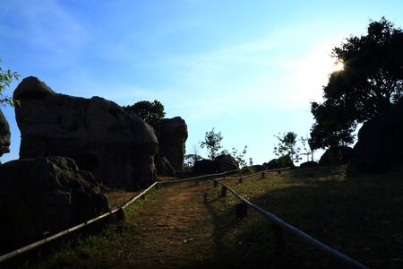 """towering: Stonehenge  Thailand  in  stone  field  """"Mo Hin  Khaw"""" of  Chaiyaphum  province, Thailand Stock Photo"""