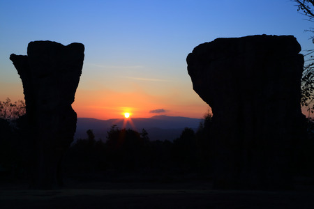 """towering: Stonehenge  Thailand  in  stone  field  """"Mo Hin  Khaw"""" of  Chaiyaphum  province, Thailand"""