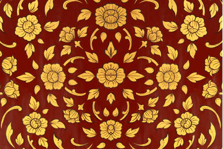 Golden on red thai painting wallpaper  Buddha temple wall and ceiling decoration Stock Photo - 13410021