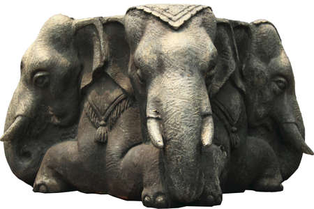 Three-headed elephant sculpture at Wat Arun temple in Bangkok, Thailand  photo