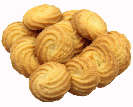 bunch of butter cookies isolated on white background Stock Photo - 13616642