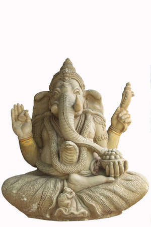 Statue of the hinduist god Ganesha on a white background  Stock Photo - 14152577