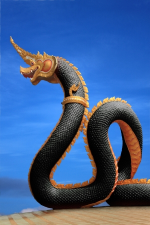 naga china: Naga statue of thailand with nice sky Stock Photo