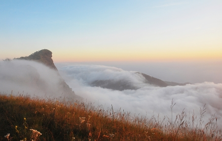 beautiful misty early morning mountains at Doimongjong nationalpark in Thailand   photo