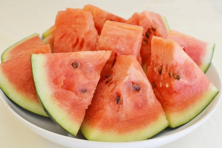 seedless: Stack of seedless watermelon slices