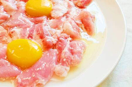 ferment: Meat, ferment with milk eggs and sesame