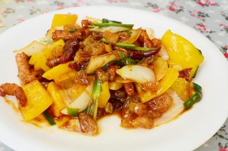Thai food-Stri-fried pork snack with chili paste in oil photo