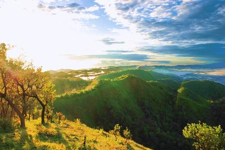 sunup: Landscape of mountain at Doimonta nationalpark in Thailand.