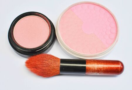 eyemakeup: makeup brush and cosmetics background Stock Photo